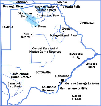 Map of Botswana showing major parks and reserves.