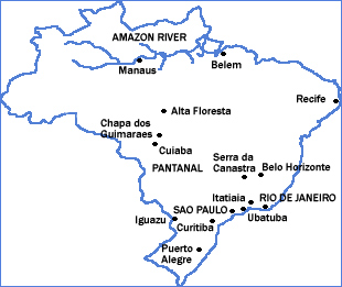 Map of Brazil showing locations of a few major birding destinations.