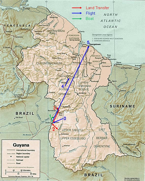 map of guyana showing the towns. Tour map showing route of tour extension to southern Guyana.