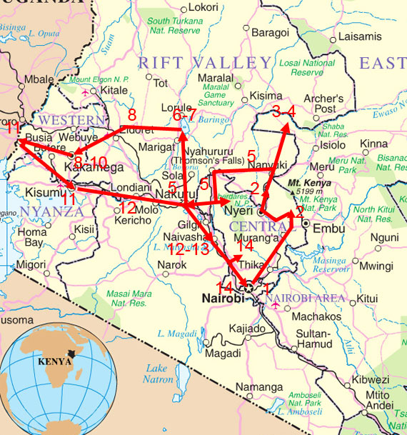 EXOTIC BIRDING Tour Map for Hotspots Birding Safari