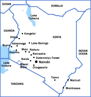 Map of Kenya showing locations of birding areas we visit while on tour.