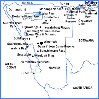 Map of Namibia showing major parks, reserves, and birding locales.