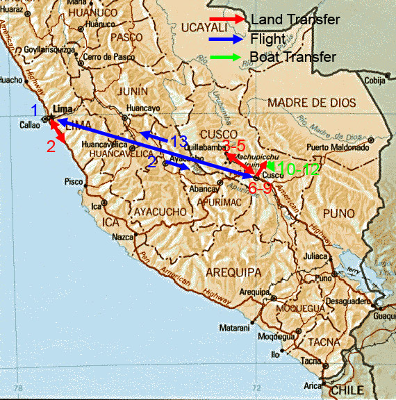 EXOTIC BIRDING Tour Map For Machu PicchuManu Road Tour - Road map of peru