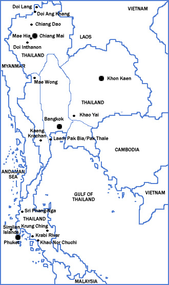 Map of Thailand showing major birding sites.