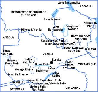 Map of Zambia showing major parks and reserves.